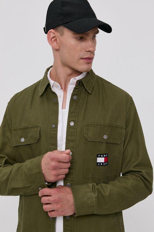 jasny oliwkowy Tommy Jeans - Koszula bawełniana Męski