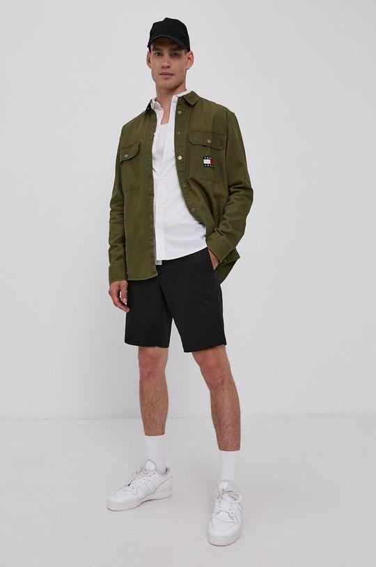 Tommy Jeans - Koszula bawełniana jasny oliwkowy