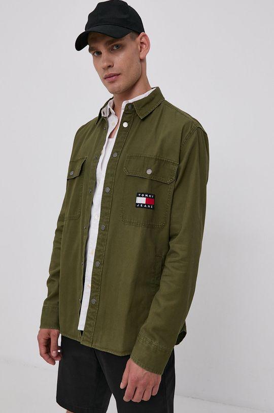 jasny oliwkowy Tommy Jeans - Koszula bawełniana