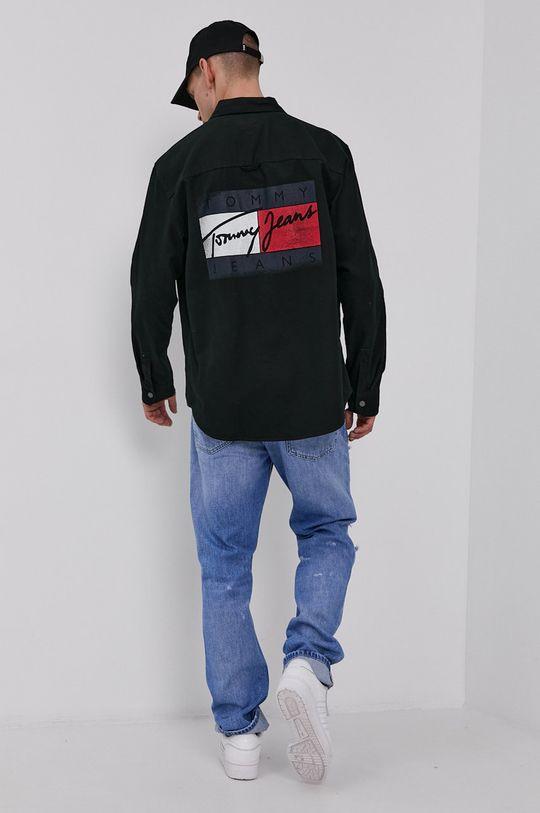 černá Tommy Jeans - Bavlněná košile Pánský