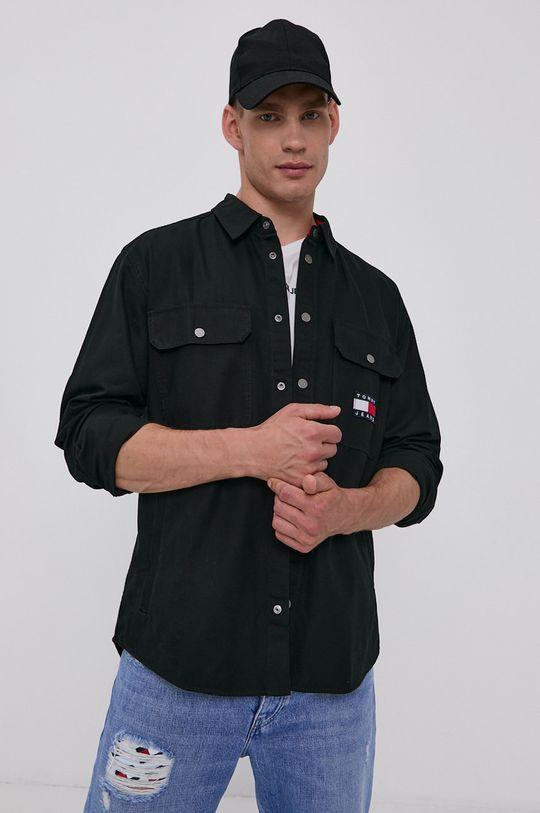 Tommy Jeans - Bavlněná košile černá