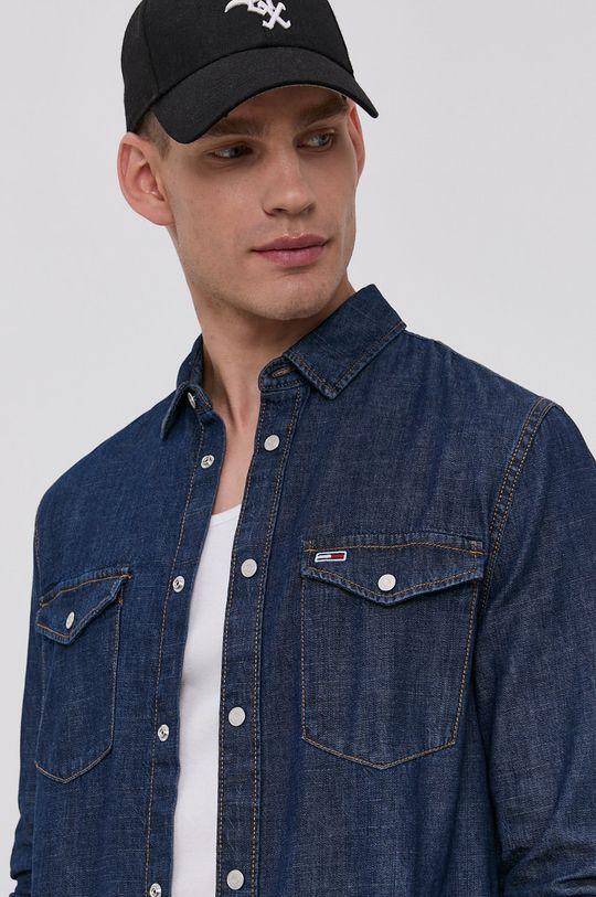granatowy Tommy Jeans - Koszula bawełniana jeansowa Męski