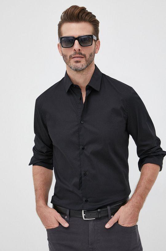 czarny Trussardi - Koszula Męski