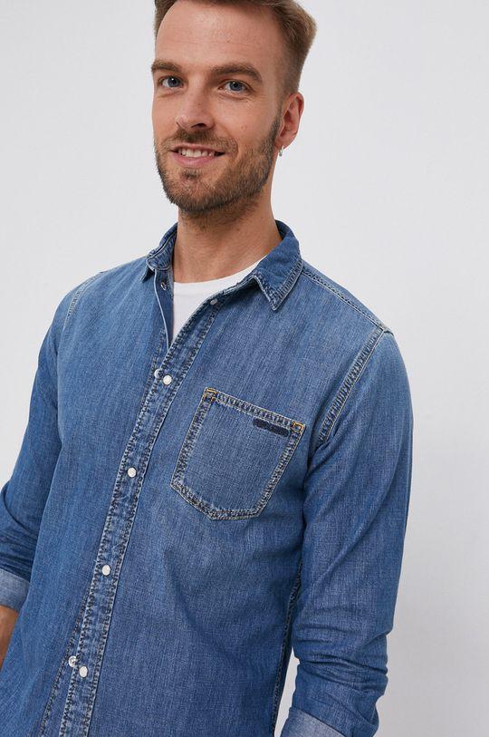 niebieski Pepe Jeans - Koszula bawełniana jeansowa Porter Męski