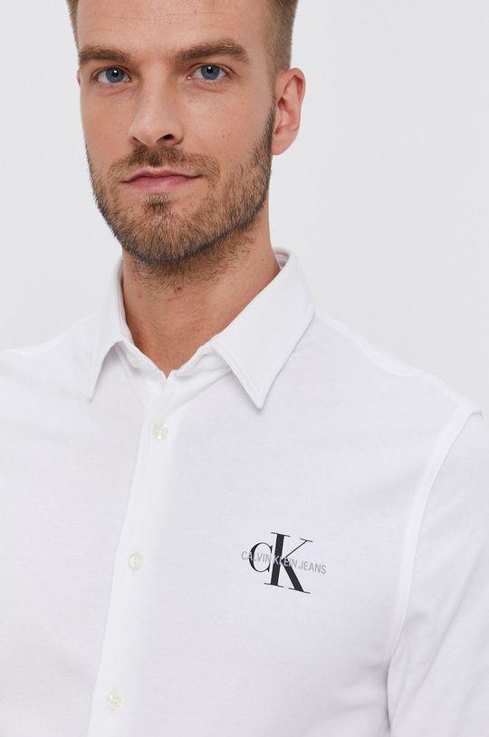 biały Calvin Klein Jeans - Koszula bawełniana Męski