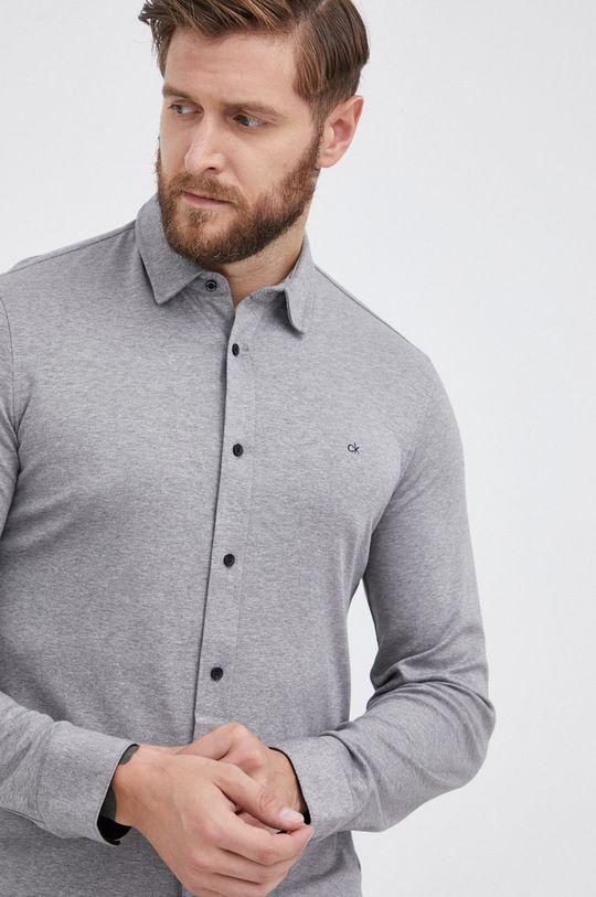 jasny szary Calvin Klein - Koszula bawełniana Męski