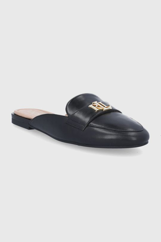 Lauren Ralph Lauren - Kožené pantofle Alli černá