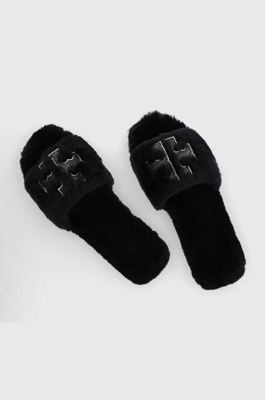 čierna Tory Burch - Kožené papuče