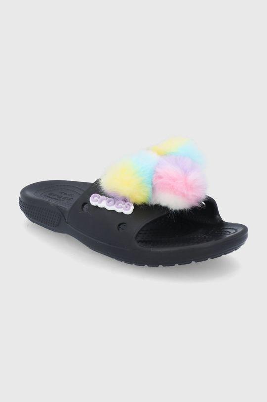 Crocs - Klapki Classic Fur Sure Slide czarny