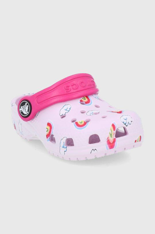 Crocs - Klapki dziecięce Classic Toddler Printed Clog Kids różowy