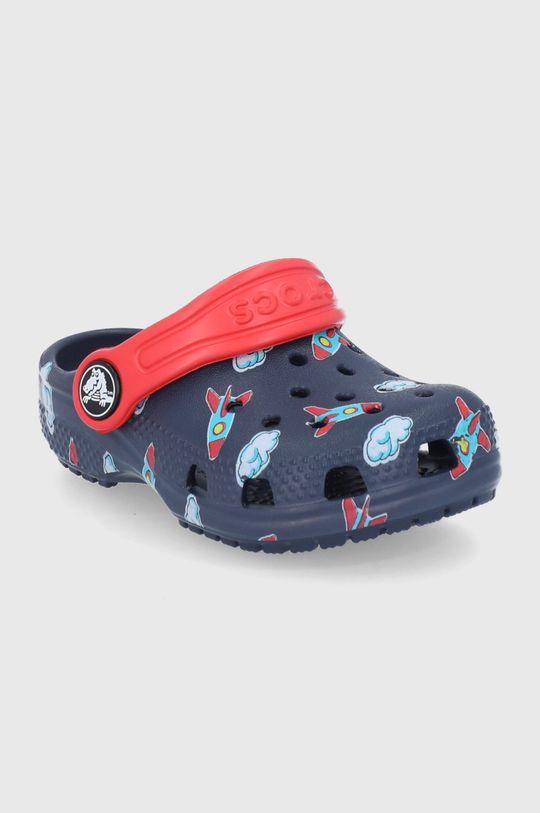 Crocs - Klapki dziecięce Classic Toddler Printed Clog Kids granatowy