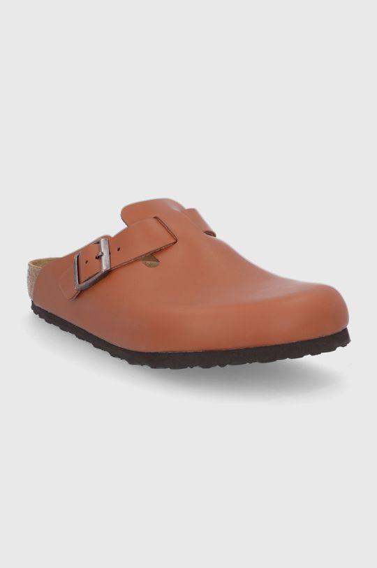 Birkenstock - Kožené pantofle Boston hnědá