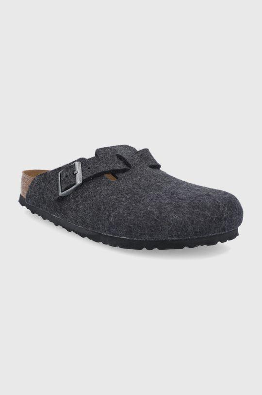 Birkenstock - Kožené papuče Boston námořnická modř