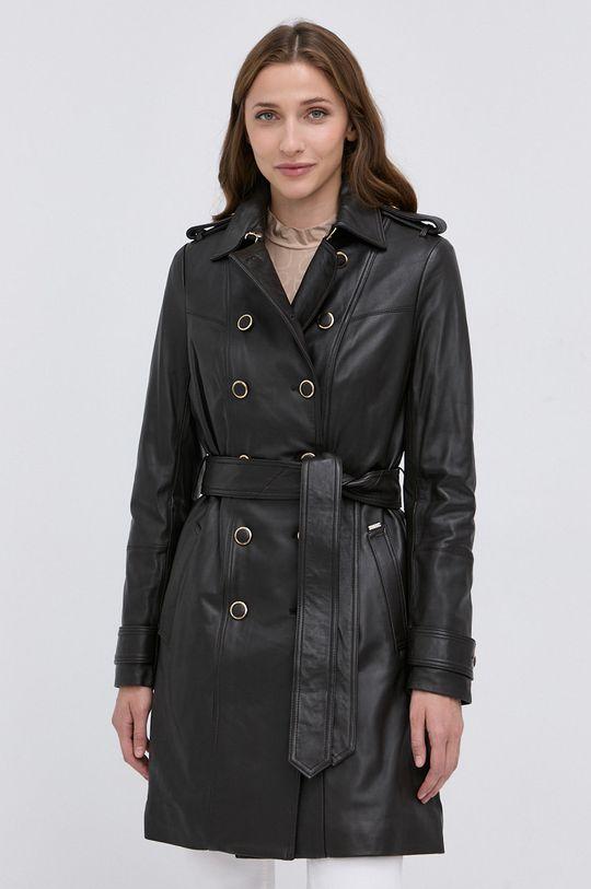 Guess - Płaszcz skórzany brudny brązowy
