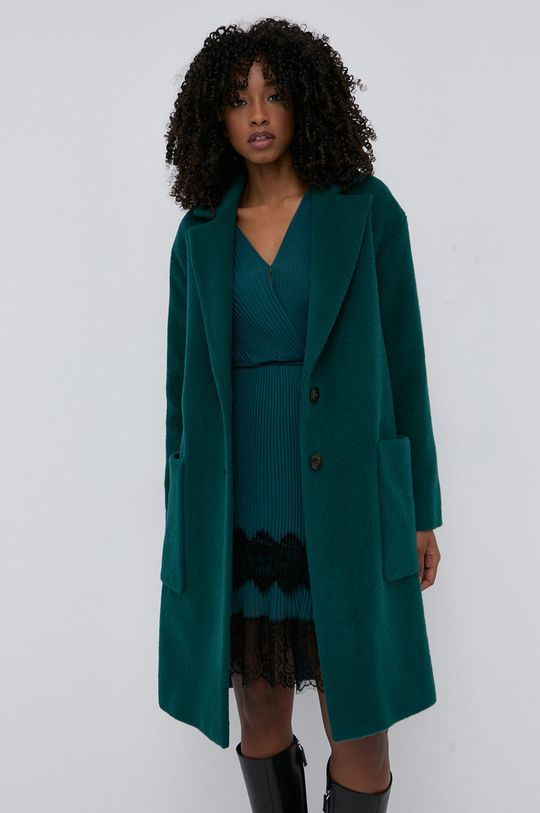 Twinset - Vlněný kabát tyrkysová