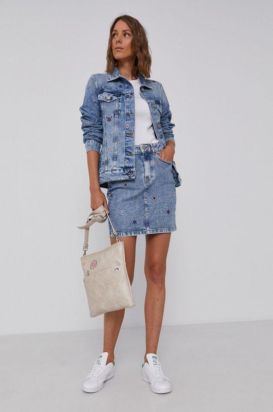 Desigual - Bavlnená rifľová bunda modrá