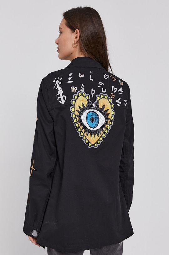 Desigual - Bavlnená košeľa čierna