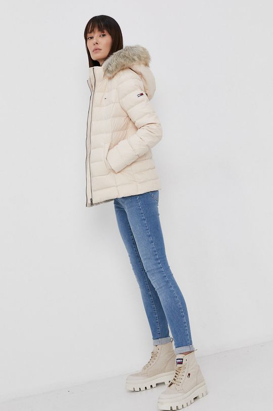 Tommy Jeans - Péřová bunda tělová