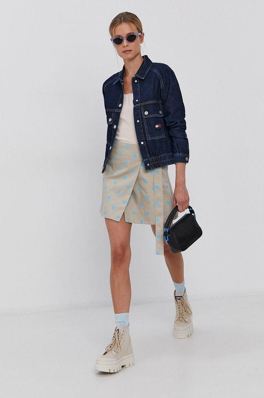 Tommy Jeans - Bavlněná džínová bunda námořnická modř