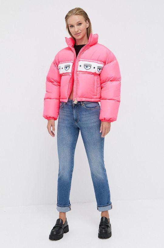 Chiara Ferragni - Páperová bunda Maxilogomania sýto ružová