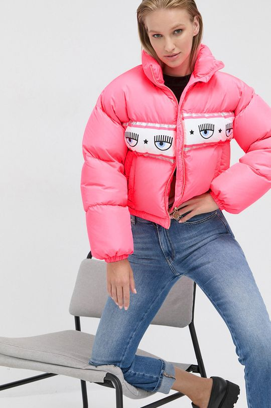 sýto ružová Chiara Ferragni - Páperová bunda Maxilogomania