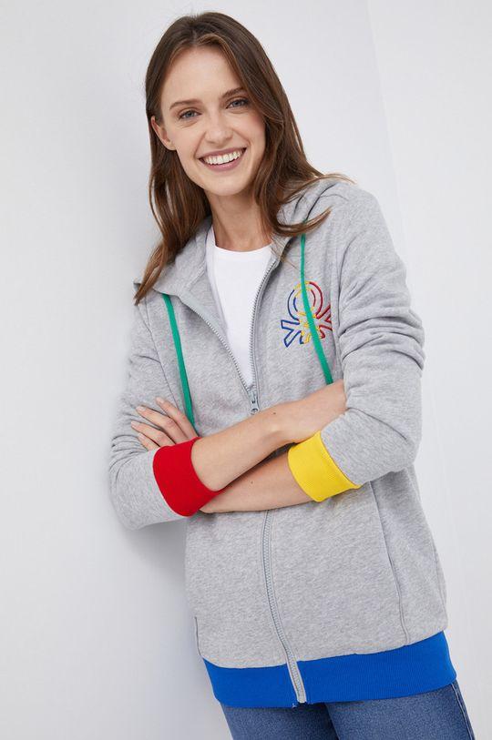 γκρί United Colors of Benetton - Βαμβακερή μπλούζα Γυναικεία