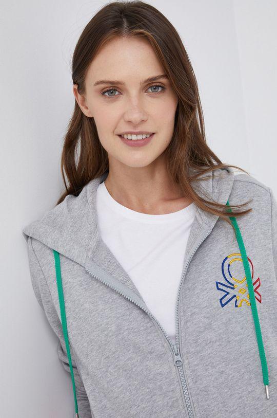 γκρί United Colors of Benetton - Βαμβακερή μπλούζα