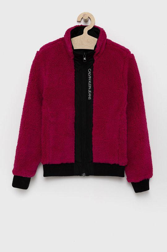 Calvin Klein Jeans - Dětská oboustranná bunda fuchsiová