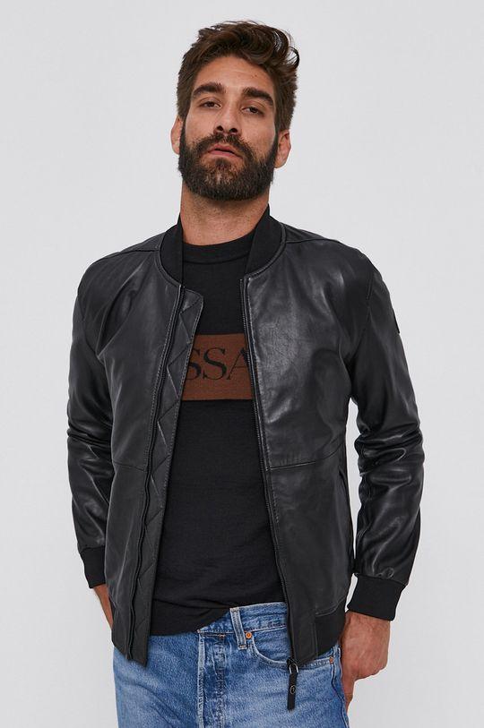 Trussardi - Kožená bunda bomber černá