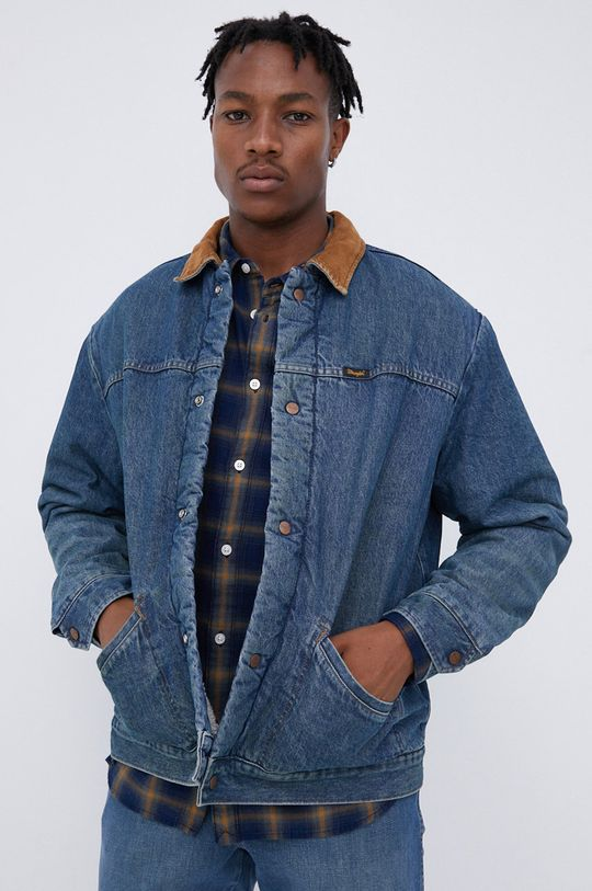 niebieski Wrangler - Kurtka jeansowa bawełniana Heritage Sherpa JKT Męski