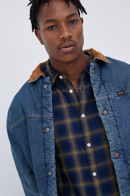 niebieski Wrangler - Kurtka jeansowa bawełniana Heritage Sherpa JKT