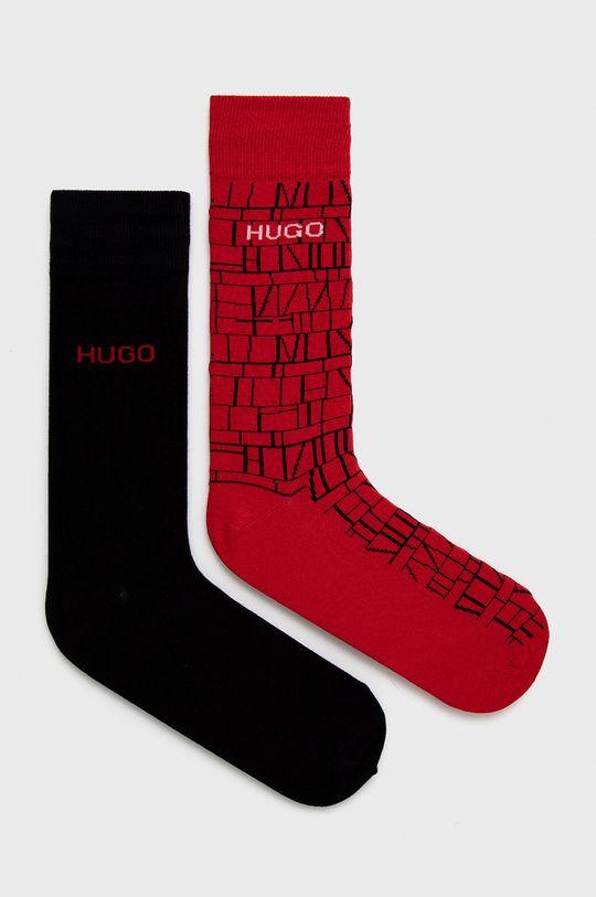 červená Hugo - Ponožky (2-pak) Pánsky