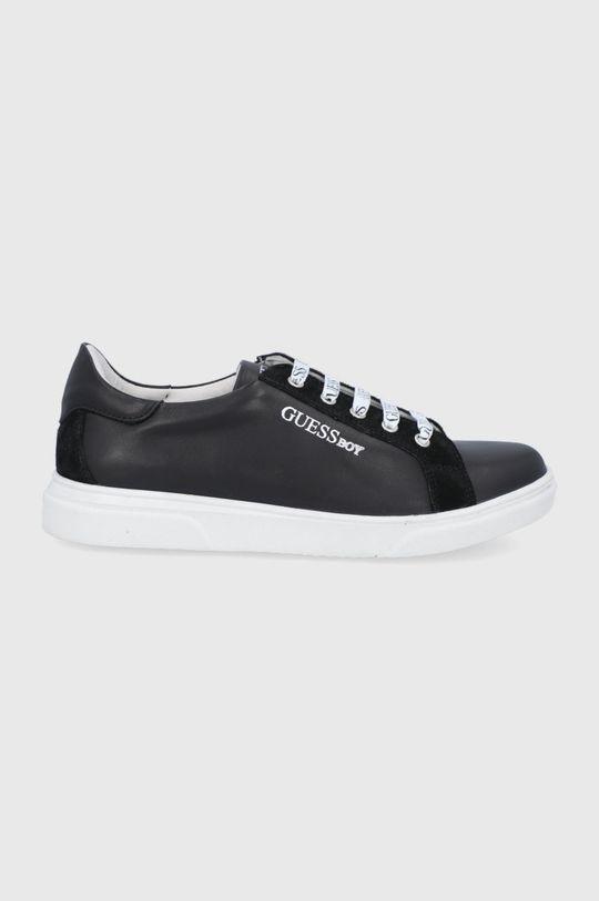 černá Guess - Dětské kožené boty Chlapecký