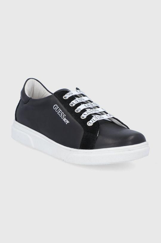 Guess - Dětské kožené boty černá