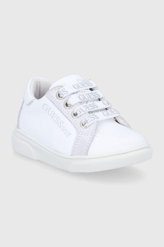 Guess - Dětské kožené boty bílá