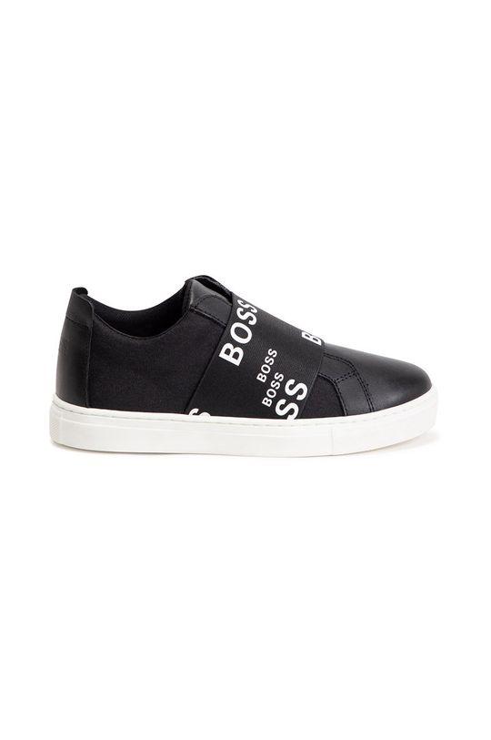 Boss - Buty skórzane dziecięce czarny
