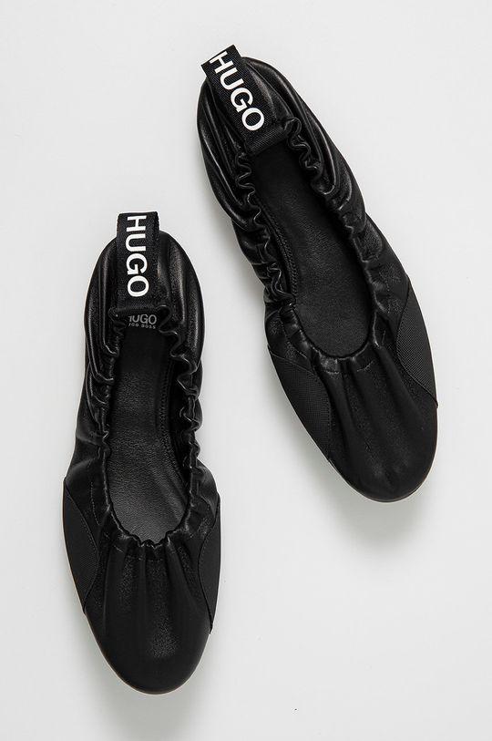 černá Hugo - Kožené baleríny