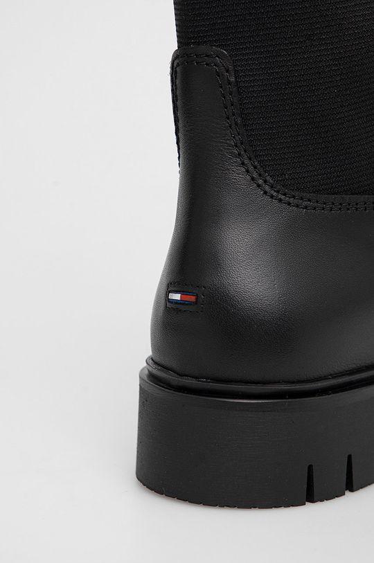 czarny Tommy Jeans - Kozaki skórzane