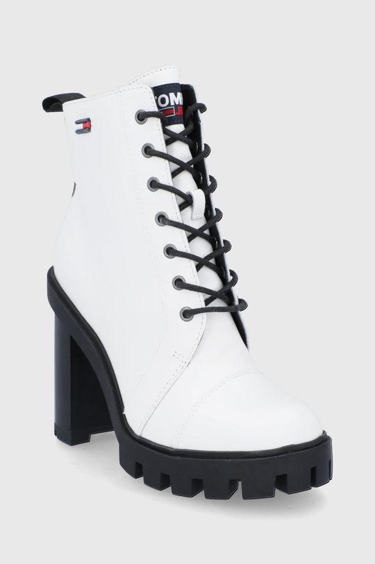 Tommy Jeans - Botki skórzane biały
