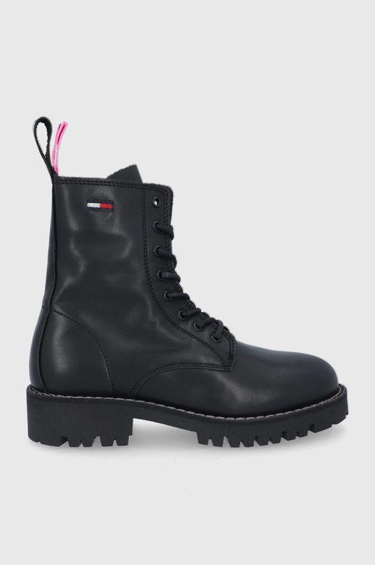 czarny Tommy Jeans - Workery skórzane Damski