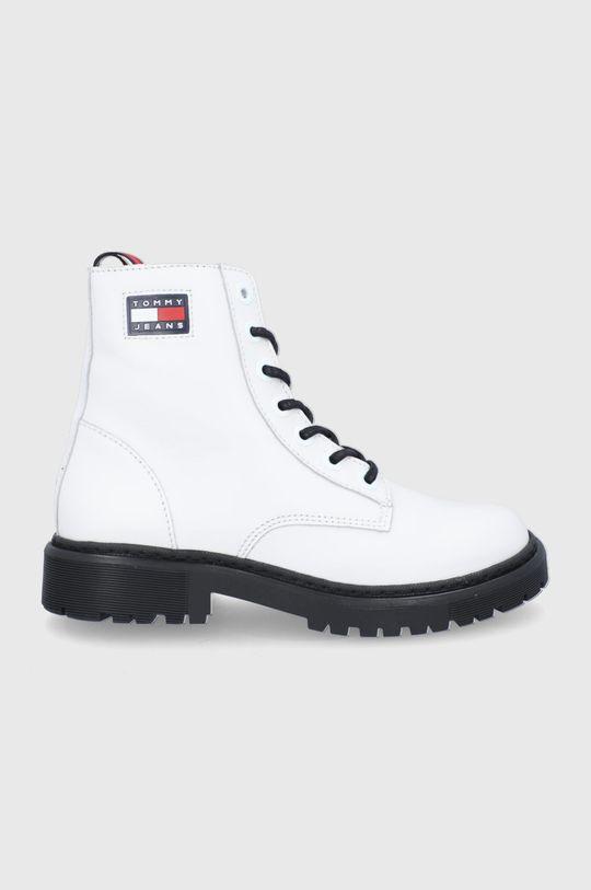 biały Tommy Jeans - Workery skórzane Damski