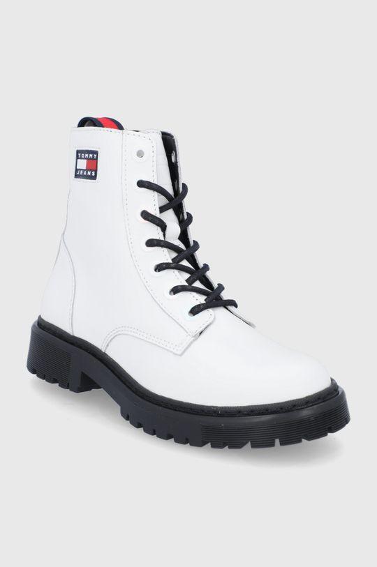 Tommy Jeans - Workery skórzane biały