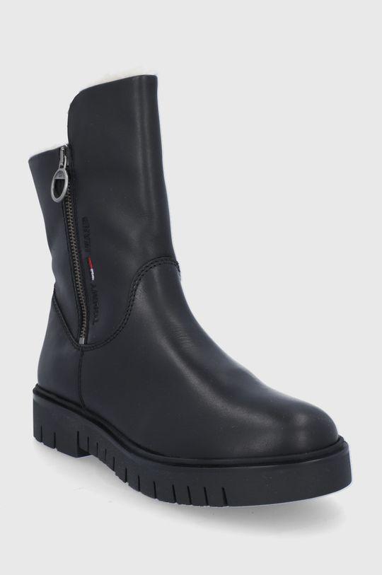 Tommy Jeans - Botki skórzane czarny