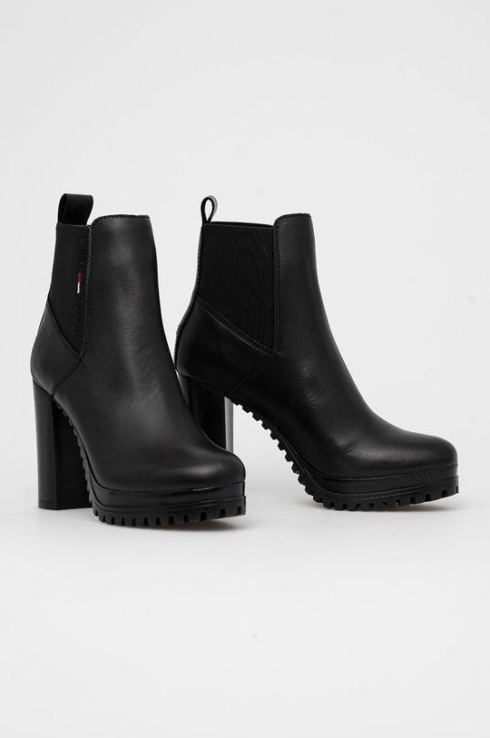 Tommy Jeans - Kožené členkové topánky čierna
