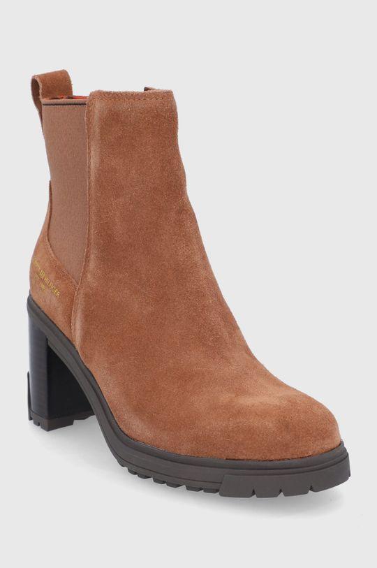Tommy Hilfiger - Semišové kotníkové boty kávová