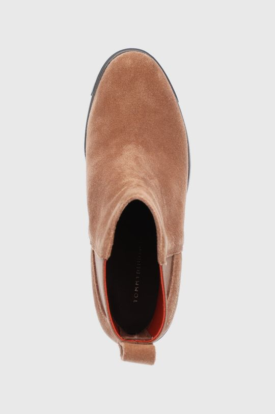 kávová Tommy Hilfiger - Semišové kotníkové boty