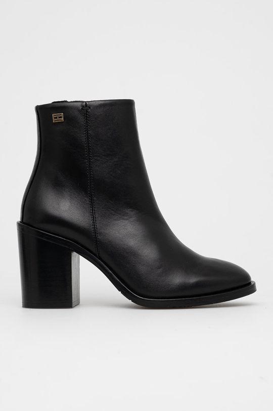 černá Tommy Hilfiger - Kožené kotníkové boty Dámský