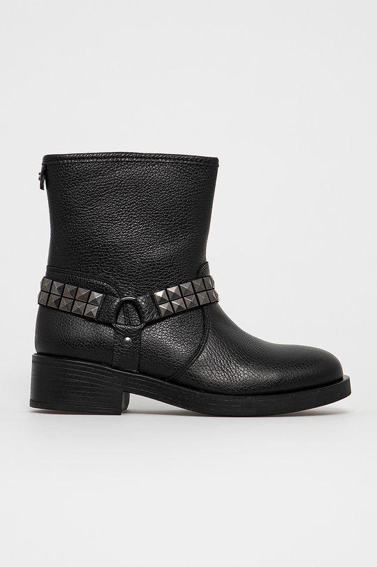 čierna Guess - Kožené členkové topánky Dámsky