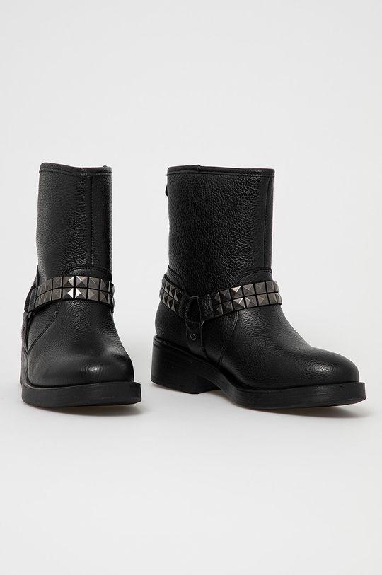 Guess - Kožené členkové topánky čierna