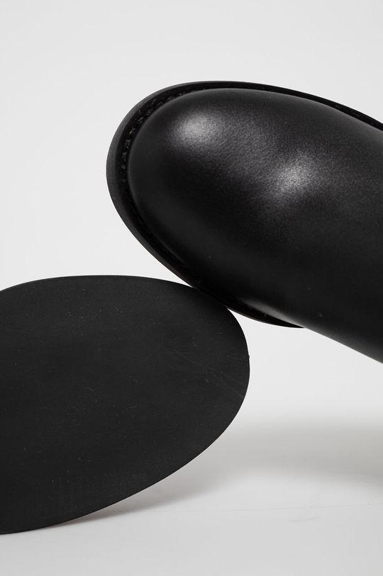 černá Guess - Kožené kotníkové boty